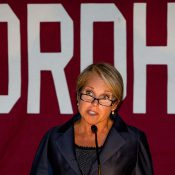 Katie Couric addressing the Washington, DC chapter of the Fordham University alumni Association.