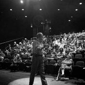 Photographer Steve Uzzell addresses a FotoWeekDC crowd. Washington, DC.