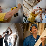 Employees of General Dynamics contributing their time, skills and energy to Habitat for Humanity. Fairfax, VA.